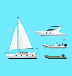 Boat types semi flat rgb color set vector