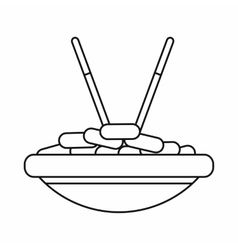 Bowl of rice with chopsticks icon outline style vector image