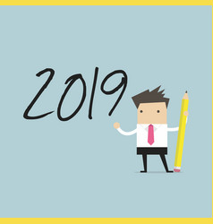 businessman use pencil to draw 2019 vector image