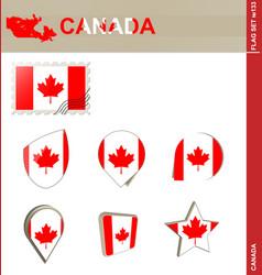 Canada flag set flag set 133 vector