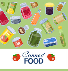 Canned food goods pattern on green background vector