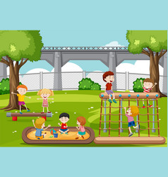 Children playing at park vector