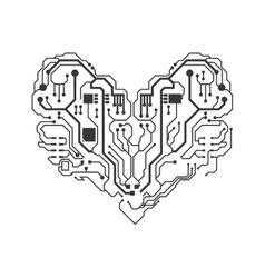 Circuit board heart icon Technology design vector image