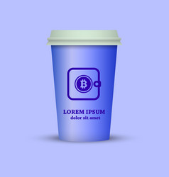 Coffee cup with bitcoin wallet on it vector