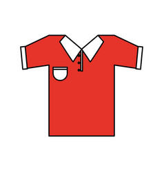 Color silhouette cartoon red golf t-shirt sport vector
