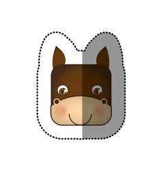 colorful face sticker of donkey in square shape vector image