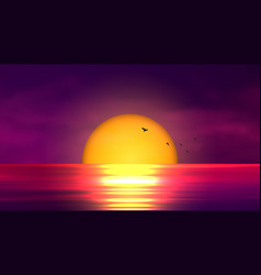 Colorful sunset over ocean vector