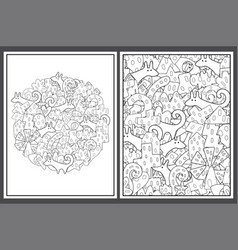 Coloring pages set with tribal elements abstract vector