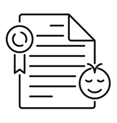 Cute birth certificate icon outline style vector