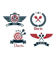 Darts emblems set vector image