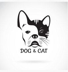 dog face bulldog and cat face design on a white vector image