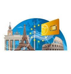 European mobile service vector