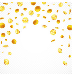 falling gold coins in different positions vector image