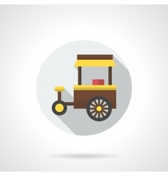 Fast food on wheels flat color round icon vector