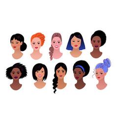 Female profile pictures avatars set vector