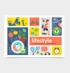 flat healthy lifestyle infographic concept vector image