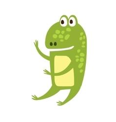 Frog sitting like human flat cartoon green vector
