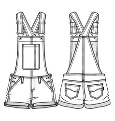 Front and back sides kids overall vector