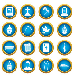 Funeral icons blue circle set vector