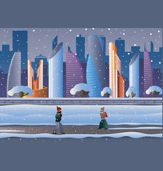 futuristic city in the snow people go down the vector image