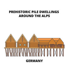 Germany prehistoric pile dwellings around the vector