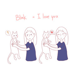 Girl blinking at cat i love you in cat language vector