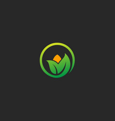 green leaf nature eco logo vector image