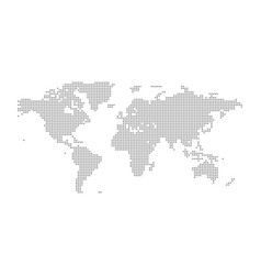 Grey political world map isolated vector