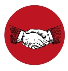 Handshake engraving in red circle vector