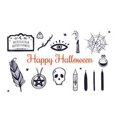 happy halloween hand drawn set witchcraft vector image