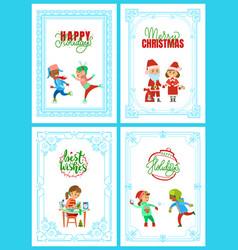 happy holidays santa claus christmas posters vector image