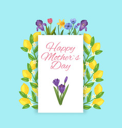 happy mothers day flowers and lemons floral vector image
