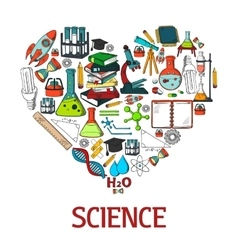 Heart shape emblem with science icons vector image