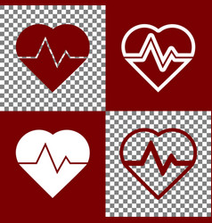 heartbeat sign bordo and vector image