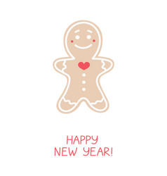 holiday greeting card with gingerbread man vector image
