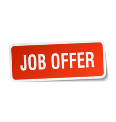 Job offer square sticker on white vector