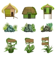 Jungle Landscape Elements Set vector