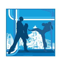 Karate pose vector image