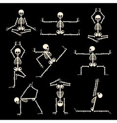 Kung fu and yoga skeletons set vector