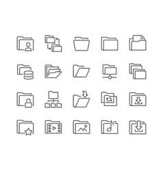 Line Folder Icons vector image