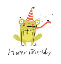 Little amusing frog happy birthday congratulation vector