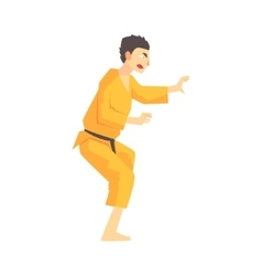Man in yellow kimono kung fu martial arts fighter vector