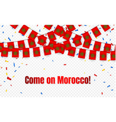 morocco garland flag with confetti on transparent vector image