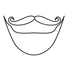 Mustache and beard icon outline style vector image