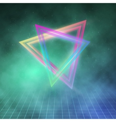 Neon Triangle Disco Poster Template 80s Background vector