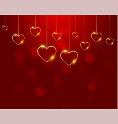 Nice red background with golden hearts decoration vector
