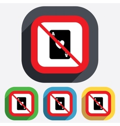 No Casino sign icon Playing card symbol vector