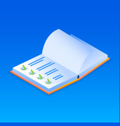 note book checklist icon isometric style vector image