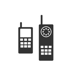 old phone icon silhouette vector image