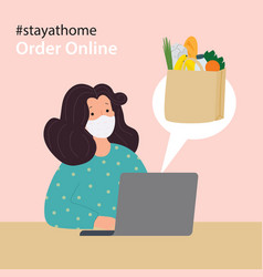 Online food delivery woman wearing face mask vector